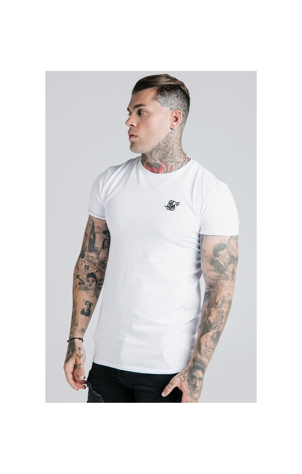 SikSilk Straight Hem Gym Tee - White