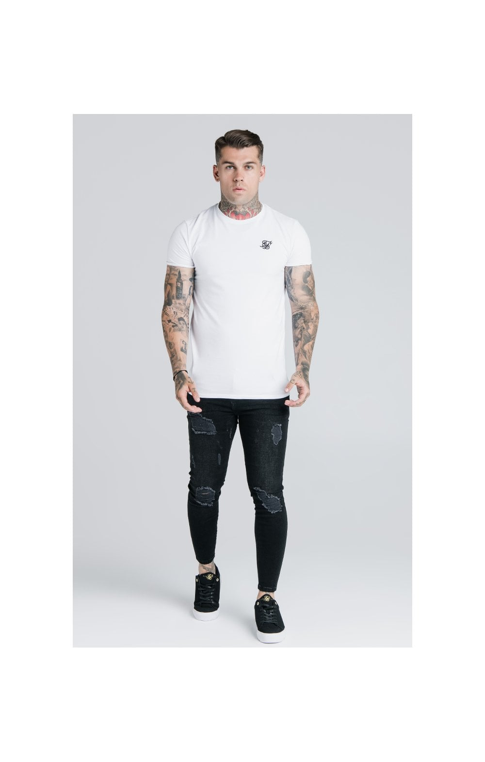 Load image into Gallery viewer, SikSilk Straight Hem Gym Tee - White (1)