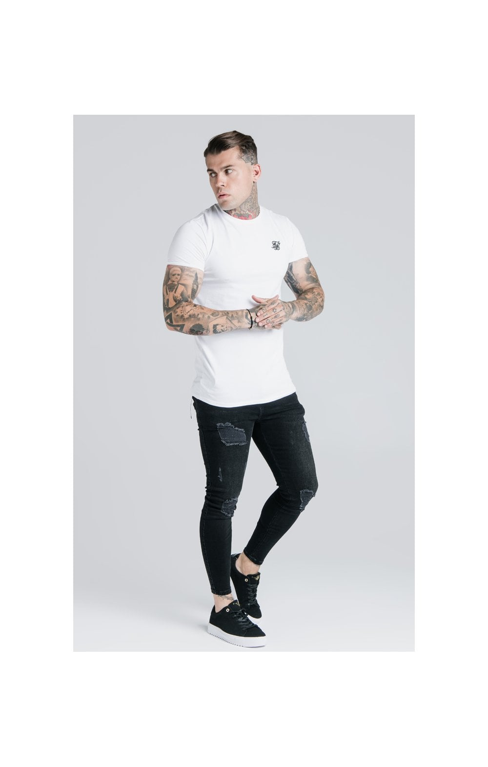 Load image into Gallery viewer, SikSilk Straight Hem Gym Tee - White (2)