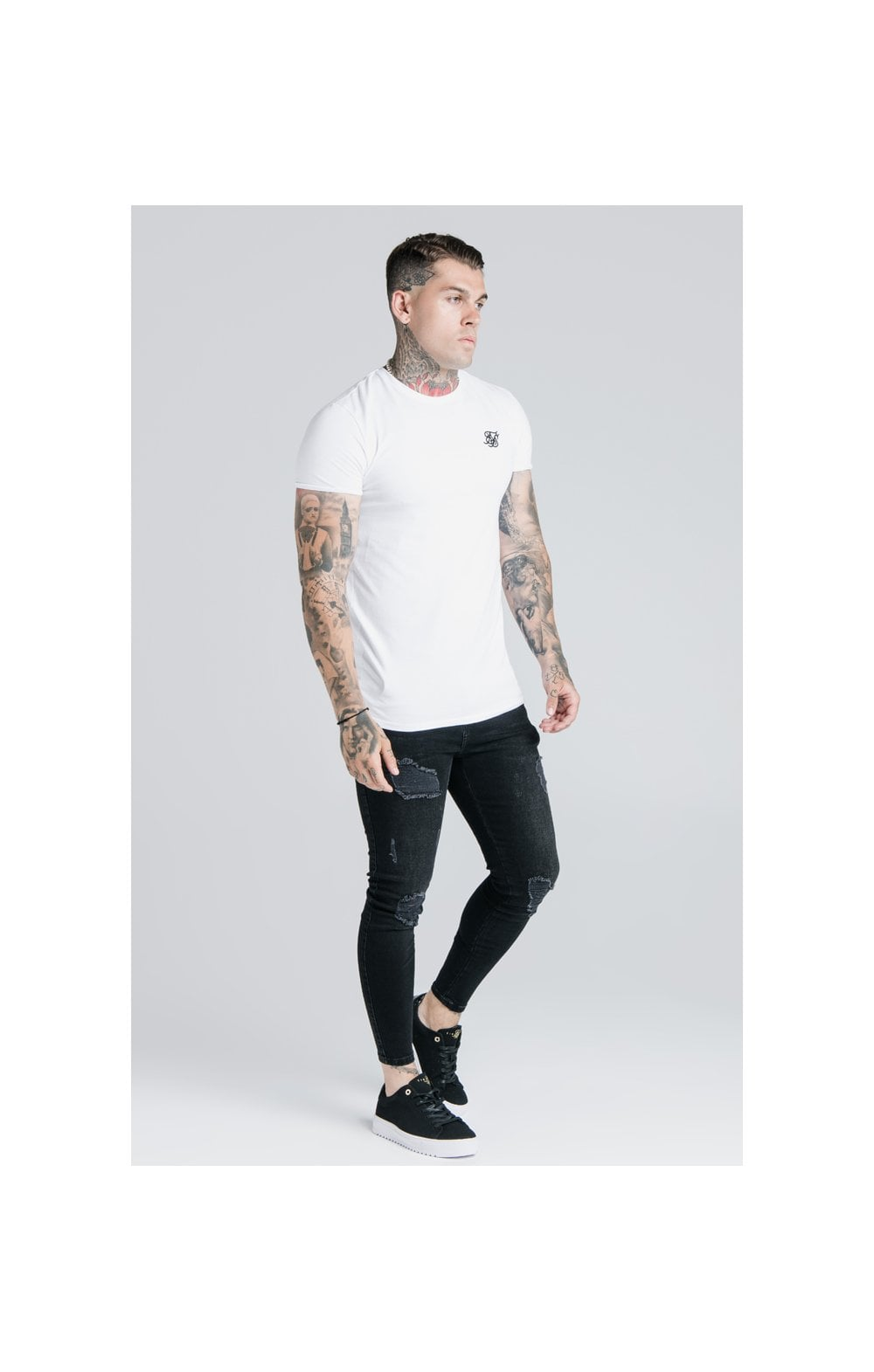 Load image into Gallery viewer, SikSilk Straight Hem Gym Tee - White (3)