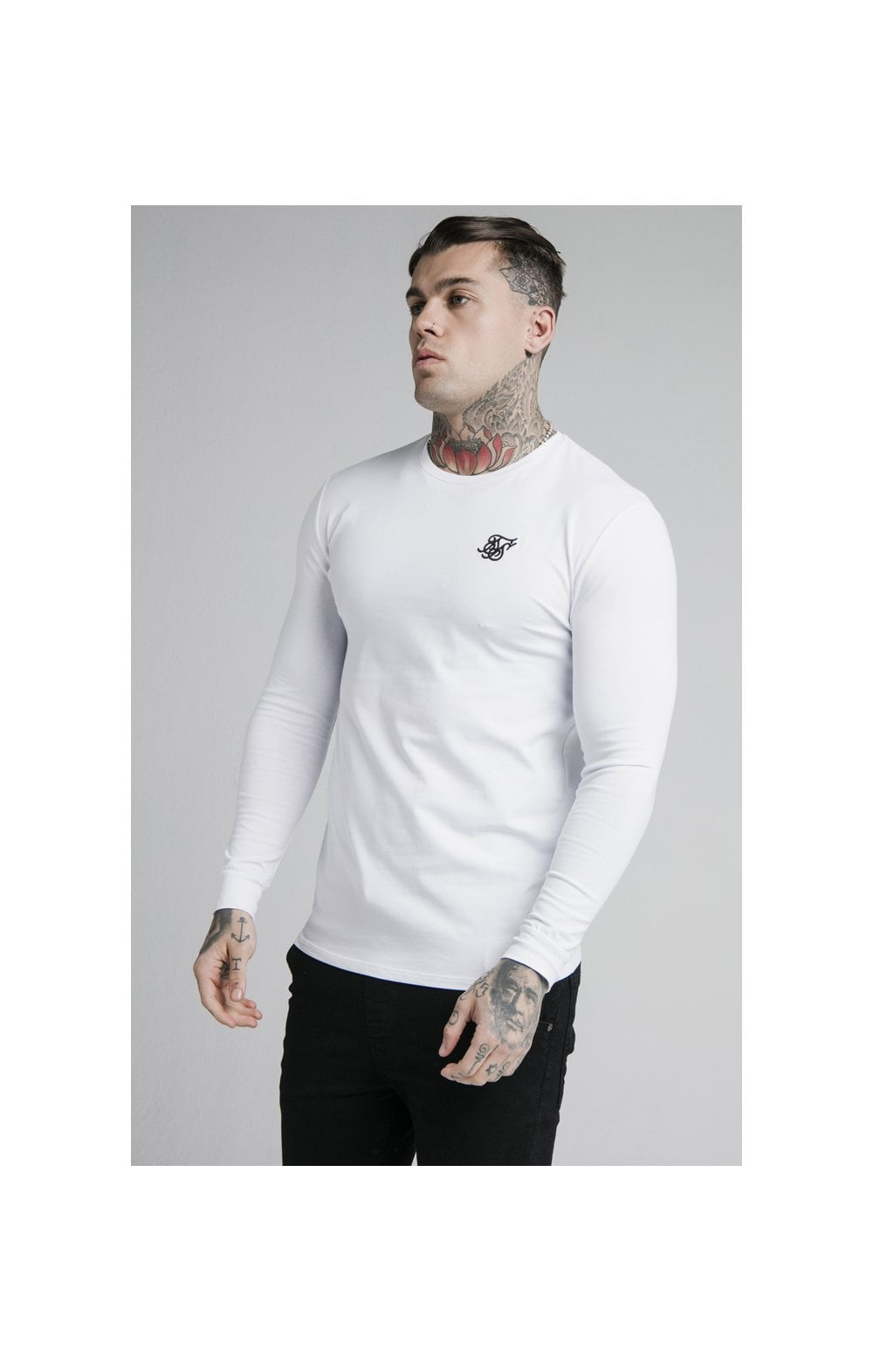 Load image into Gallery viewer, SikSilk L/S Straight Hem Gym Tee – White