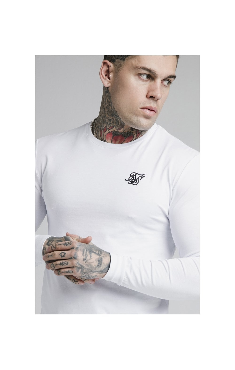 SikSilk L/S Straight Hem Gym Tee – White (1)