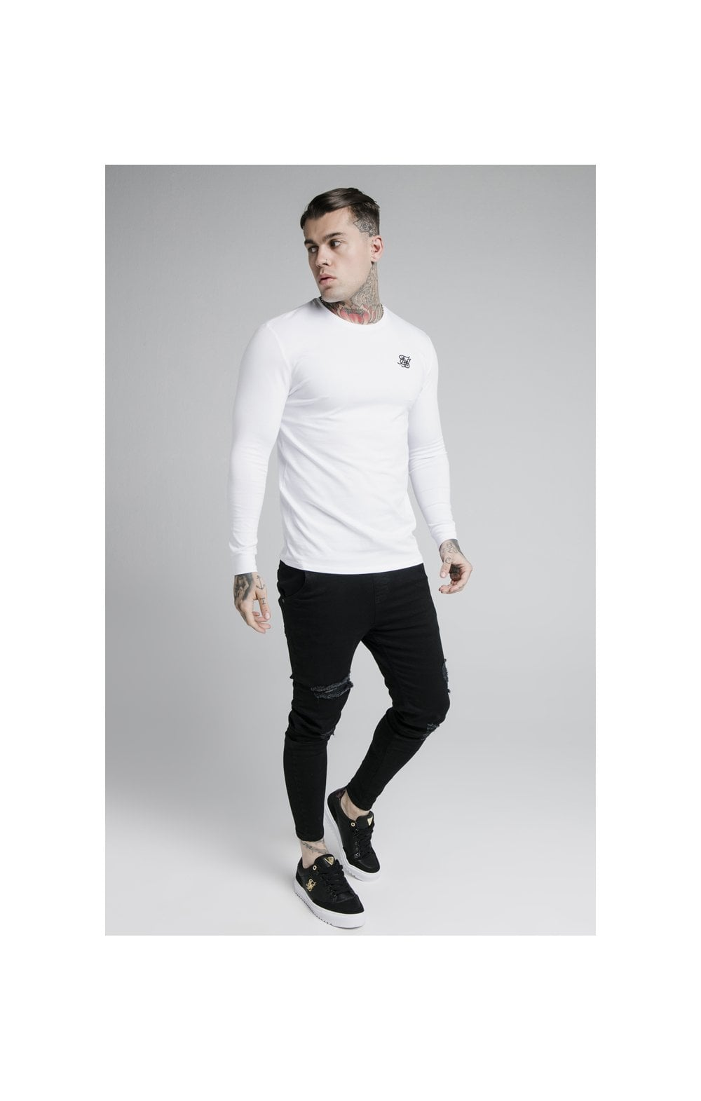 Load image into Gallery viewer, SikSilk L/S Straight Hem Gym Tee – White (2)