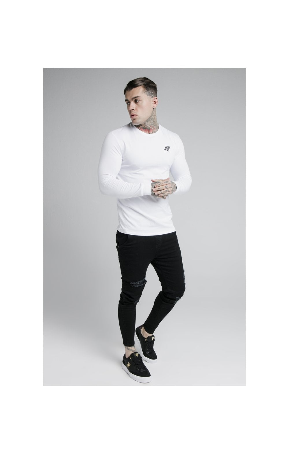 SikSilk L/S Straight Hem Gym Tee – White (3)