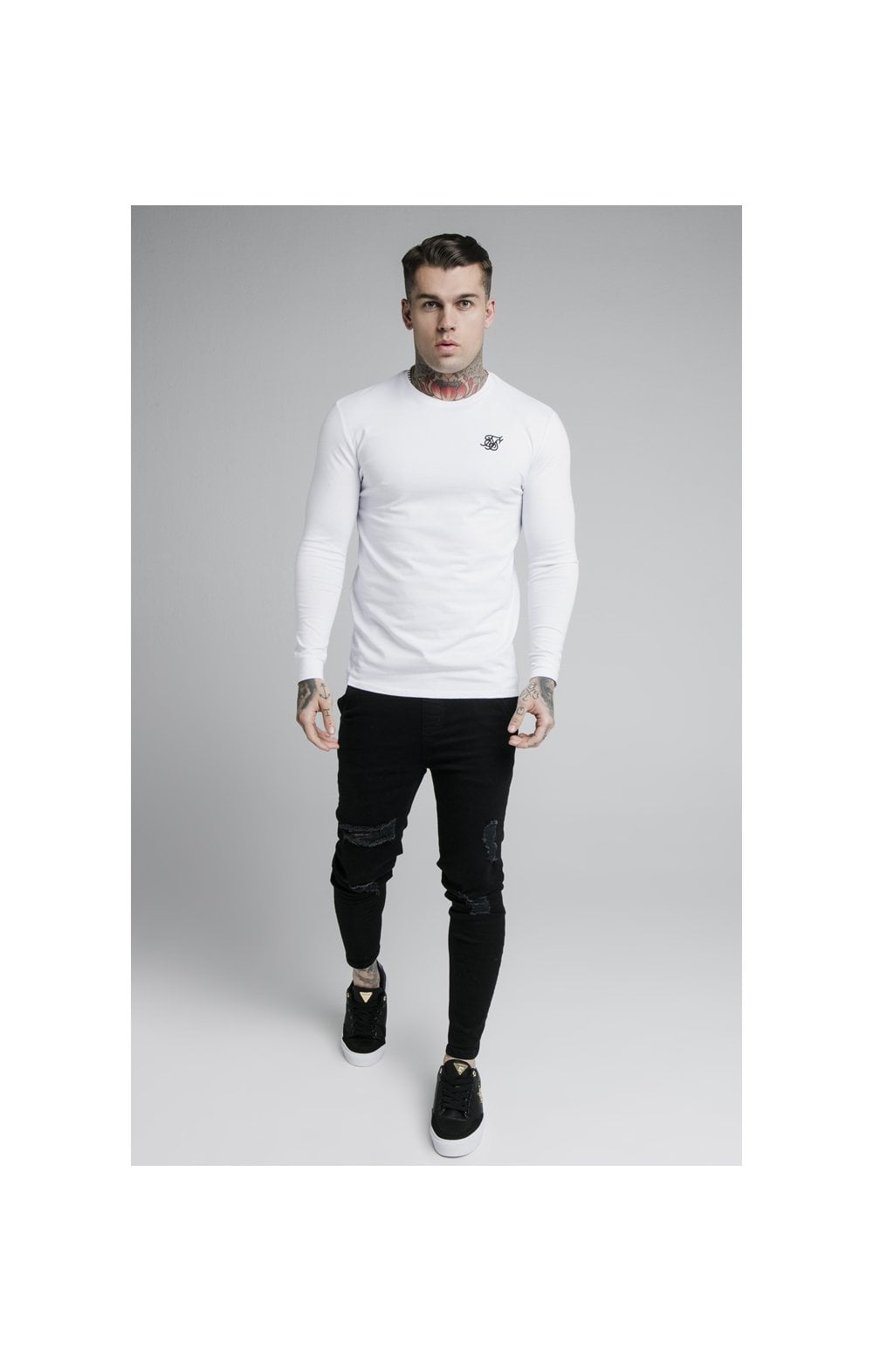 SikSilk L/S Straight Hem Gym Tee – White (4)