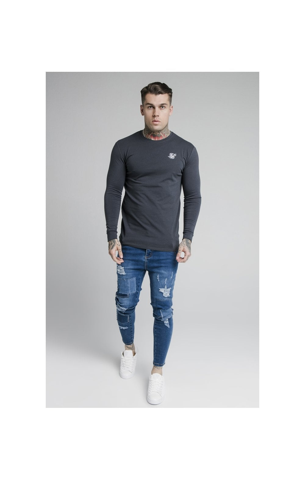 SikSilk L/S Straight Hem Gym Tee – Navy (4)