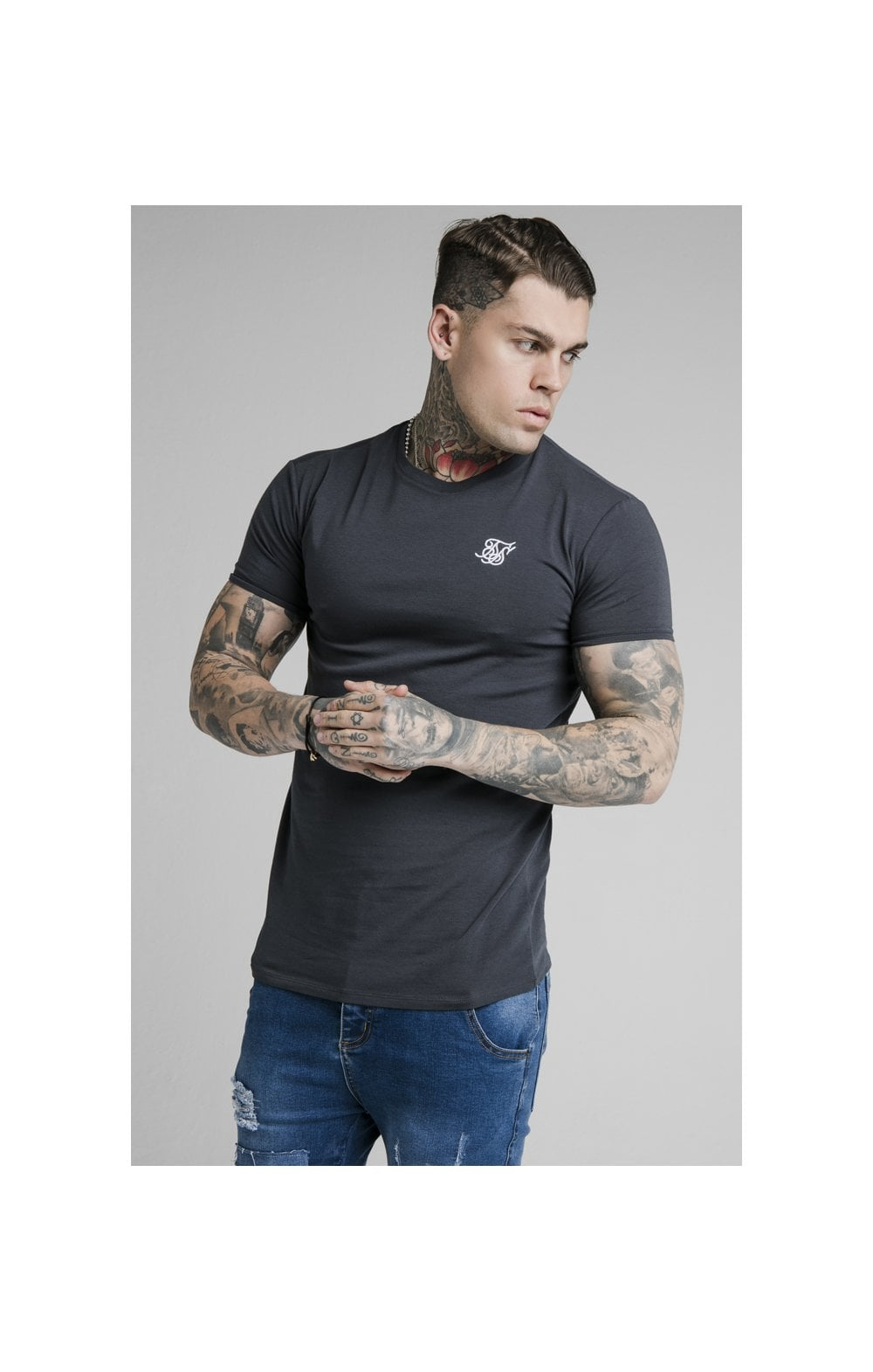 SikSilk Straight Hem Gym Tee - Navy