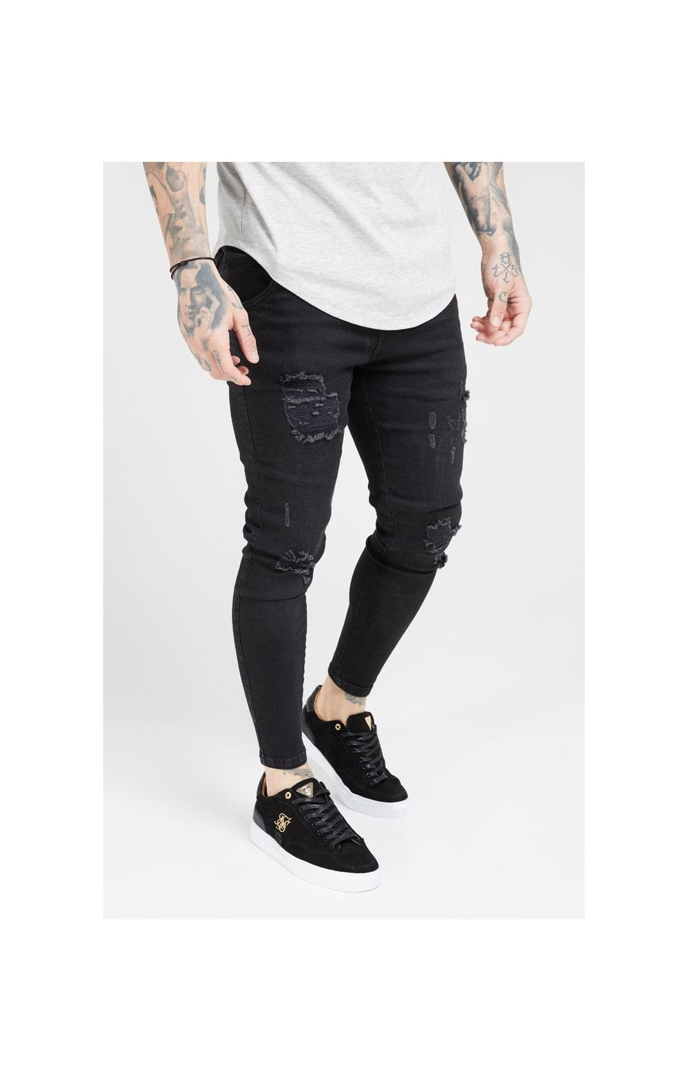 Load image into Gallery viewer, SikSilk Distressed Skinny Denims – Black