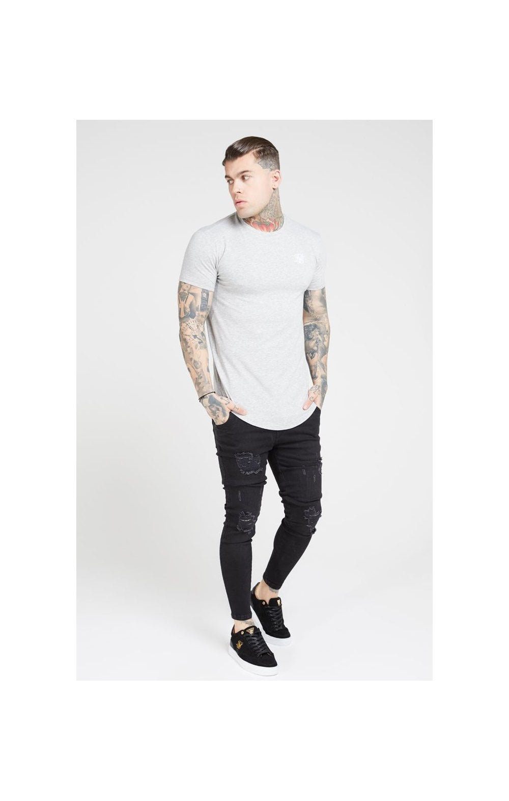 Load image into Gallery viewer, SikSilk Distressed Skinny Denims – Black (1)