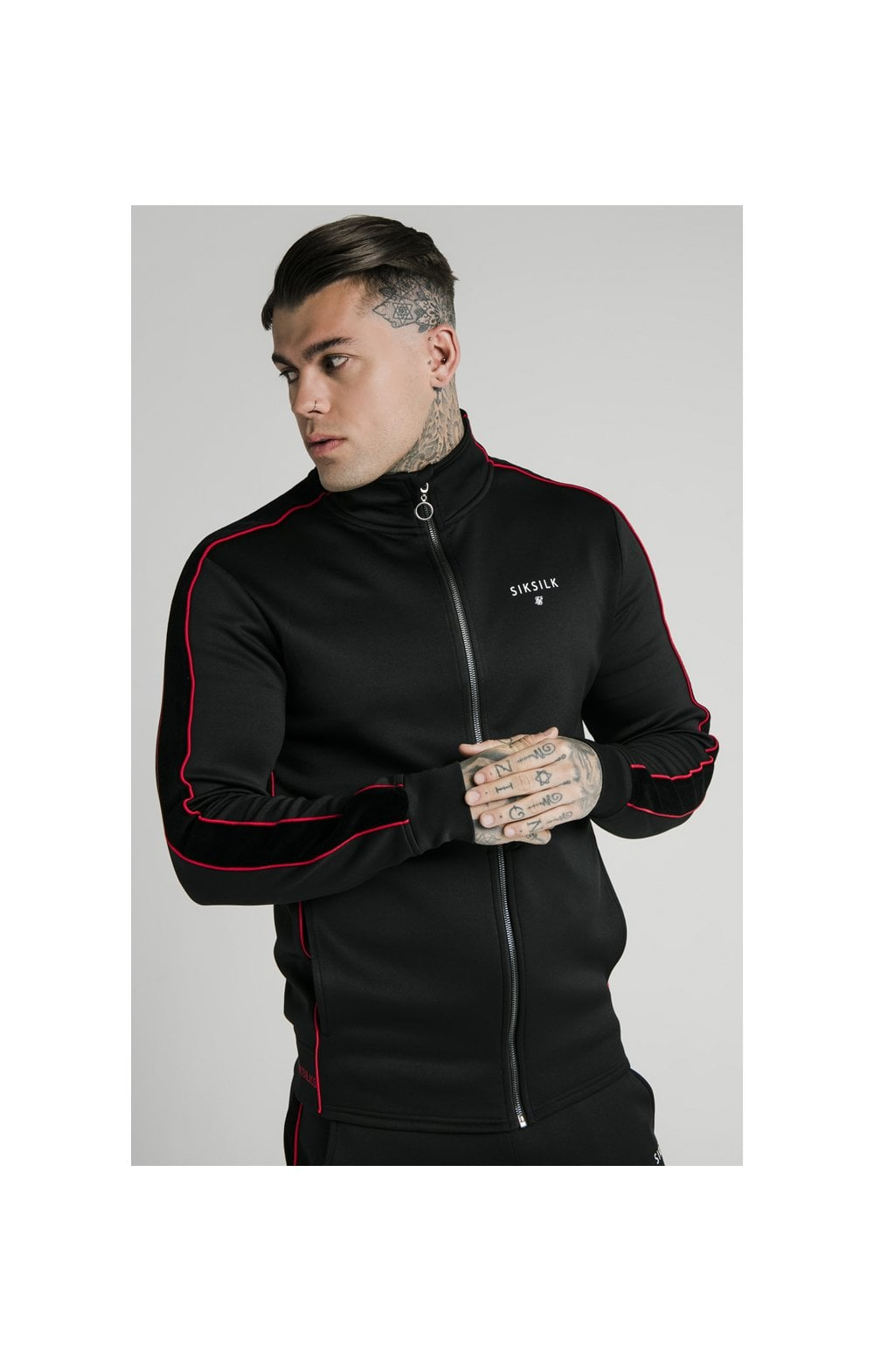 Load image into Gallery viewer, SikSilk Zip Through Funnel Neck Hoodie – Black & Red