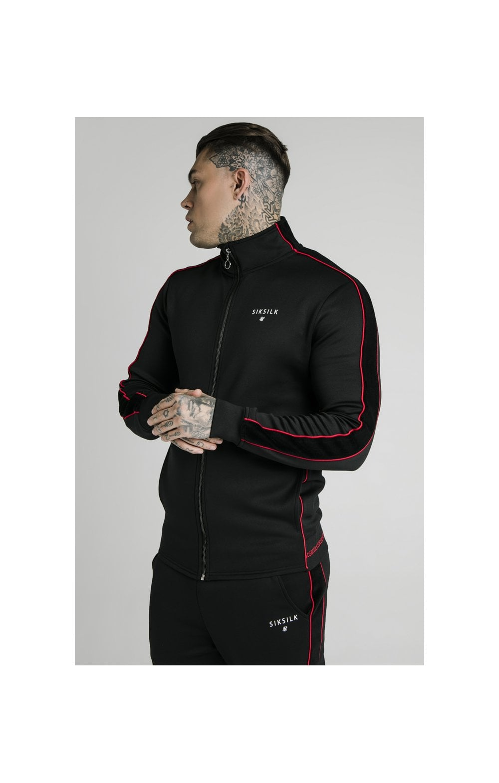Load image into Gallery viewer, SikSilk Zip Through Funnel Neck Hoodie – Black & Red (3)