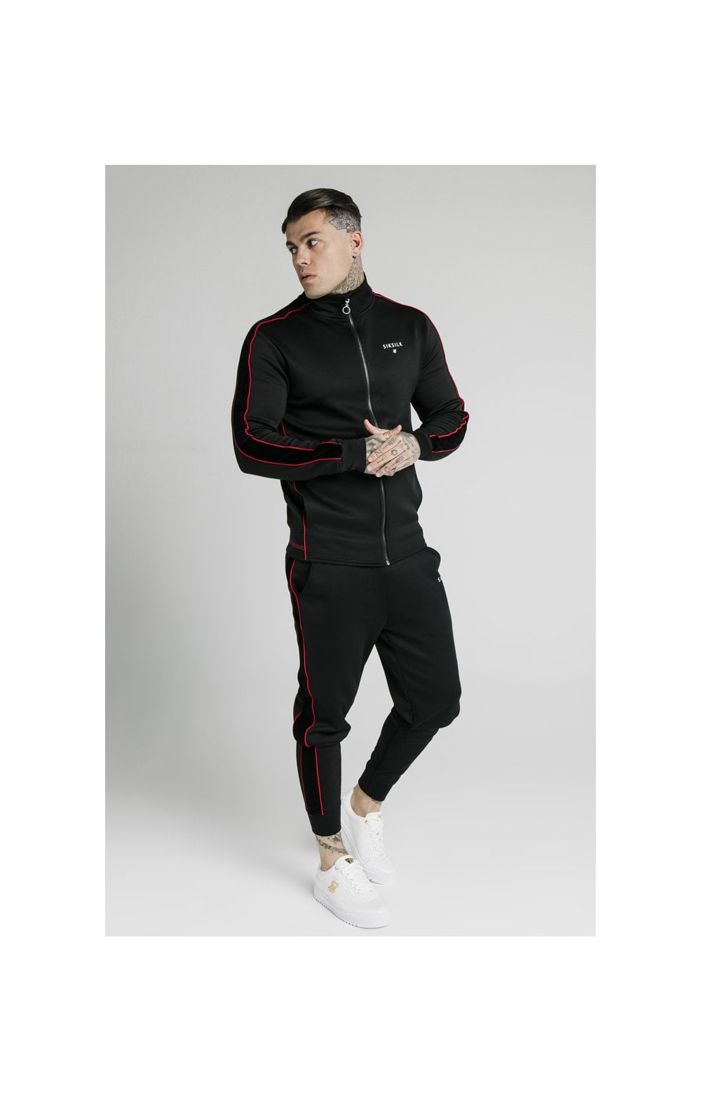Load image into Gallery viewer, SikSilk Zip Through Funnel Neck Hoodie – Black & Red (4)