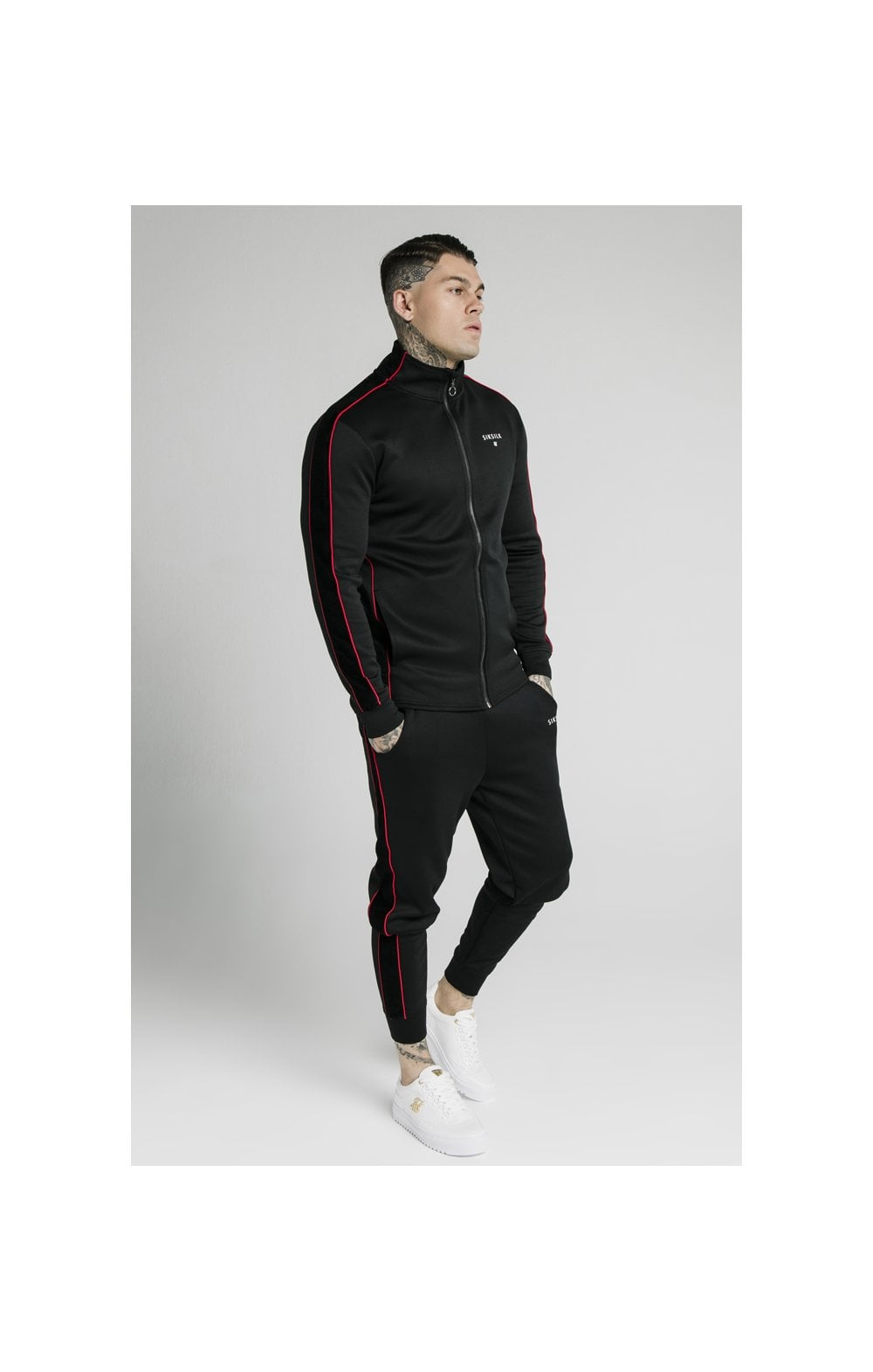 Load image into Gallery viewer, SikSilk Zip Through Funnel Neck Hoodie – Black & Red (5)