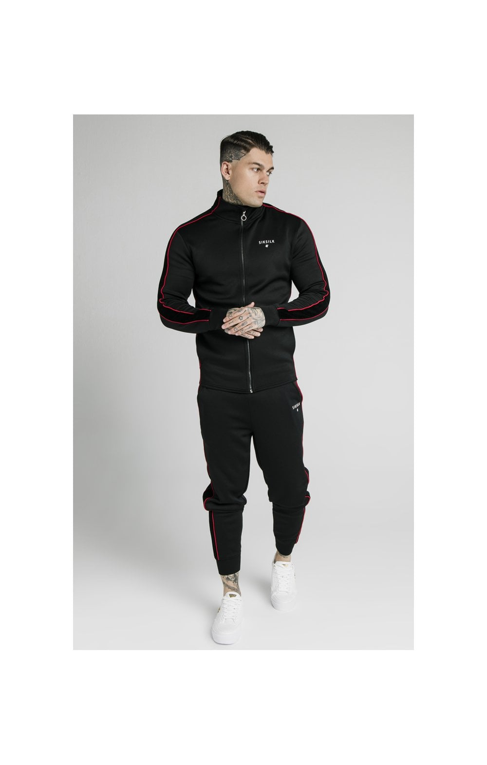Load image into Gallery viewer, SikSilk Zip Through Funnel Neck Hoodie – Black & Red (6)