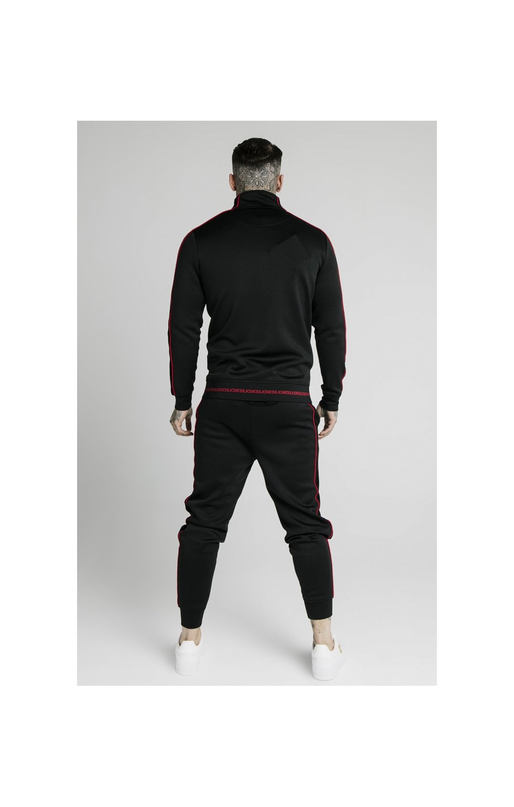 Load image into Gallery viewer, SikSilk Zip Through Funnel Neck Hoodie – Black & Red (7)