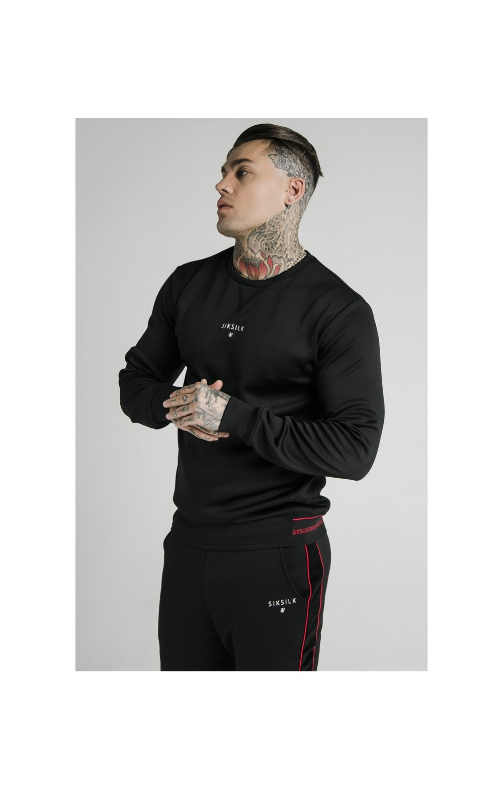 SikSilk Imperial Crew Neck Sweater - Black
