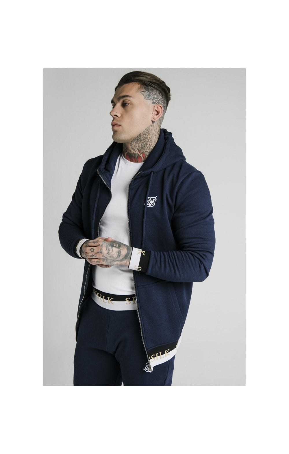 SikSilk Deluxe Zip Through Funnel Neck Hoodie - Navy