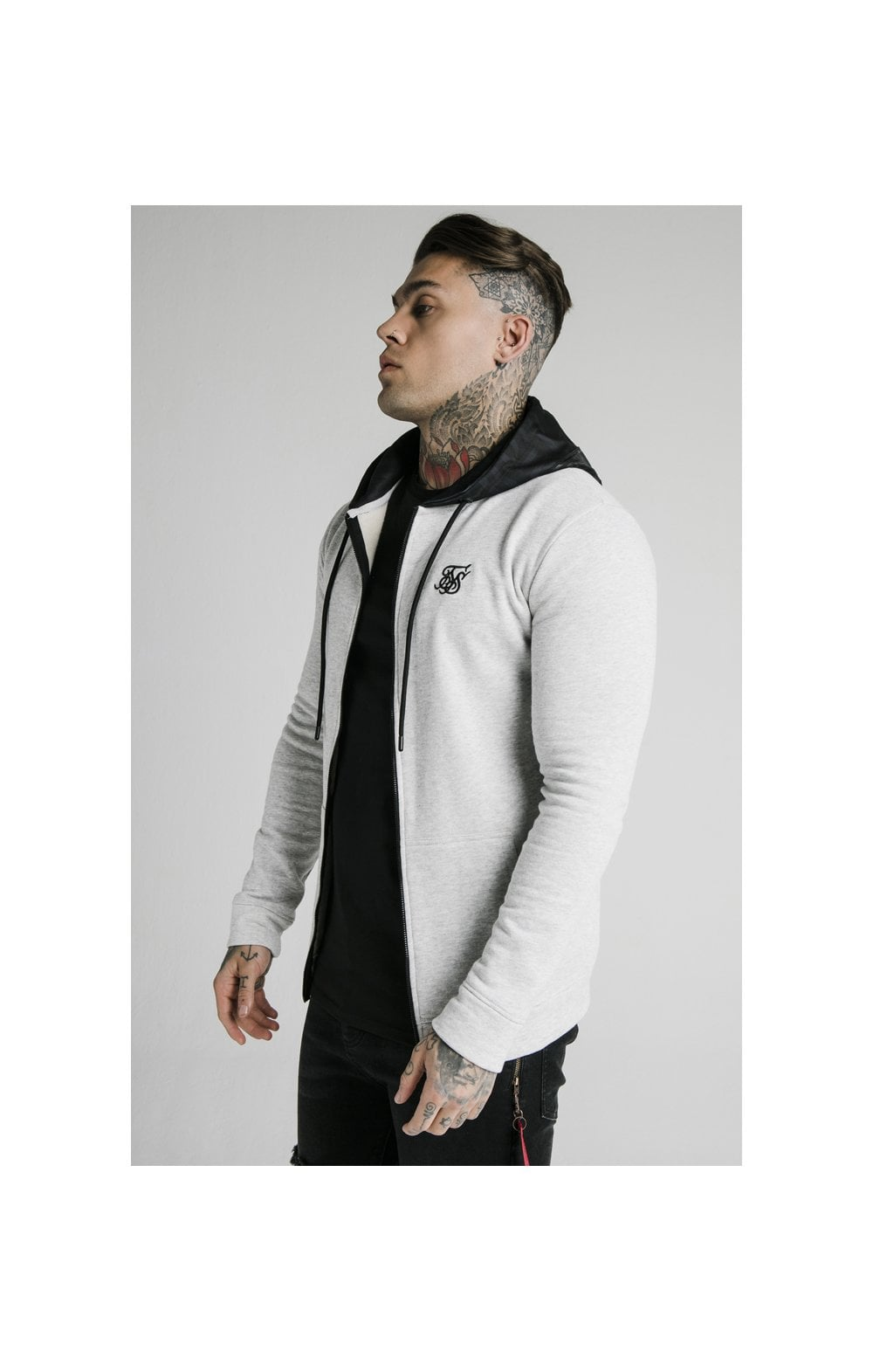 SikSilk Muscle Fit Zip Through Hoodie - Grey