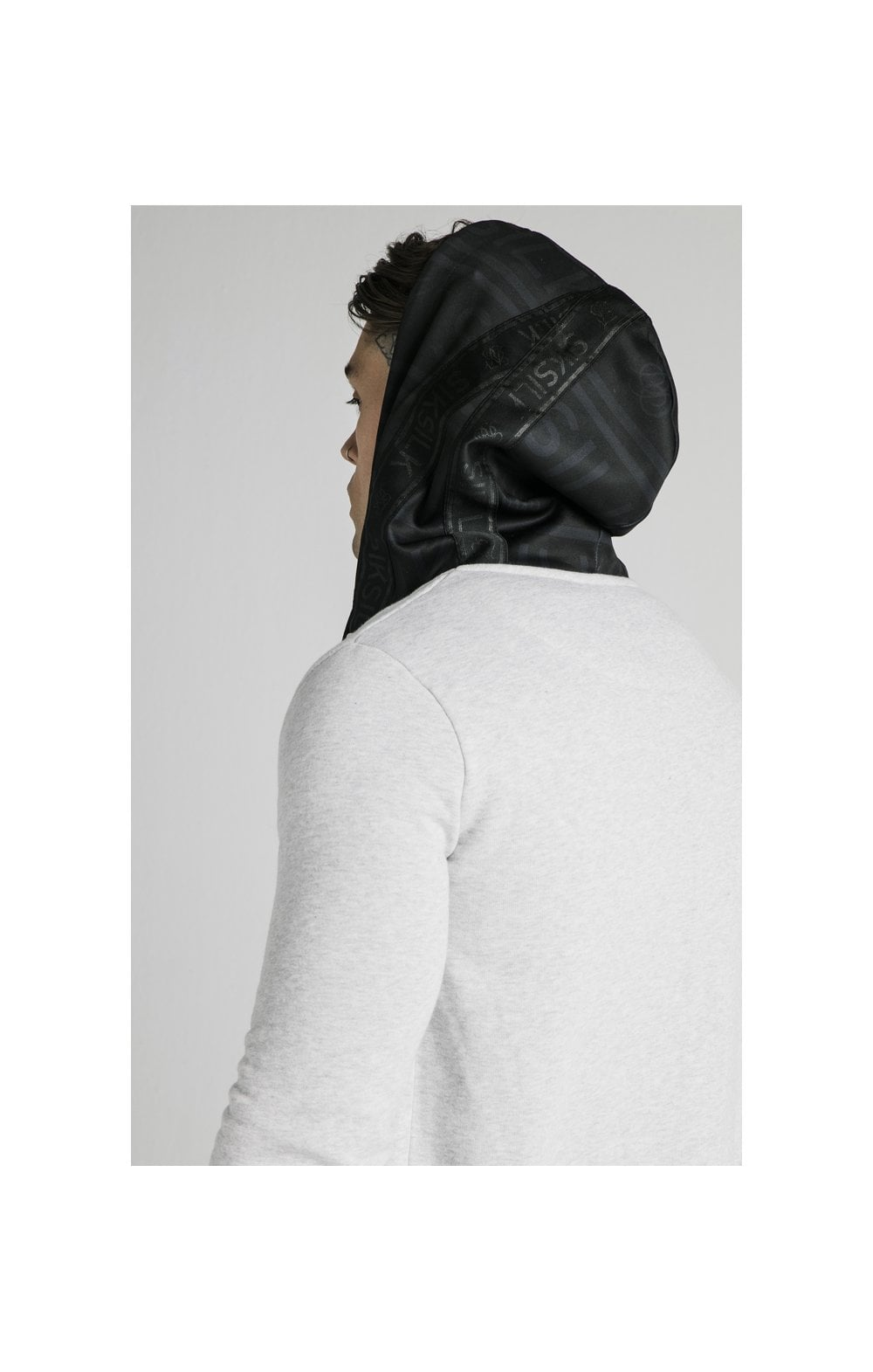 SikSilk Muscle Fit Zip Through Hoodie - Grey (1)