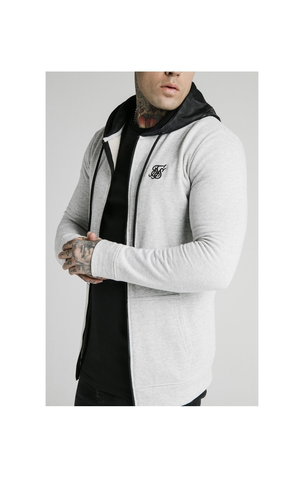 SikSilk Muscle Fit Zip Through Hoodie - Grey (2)