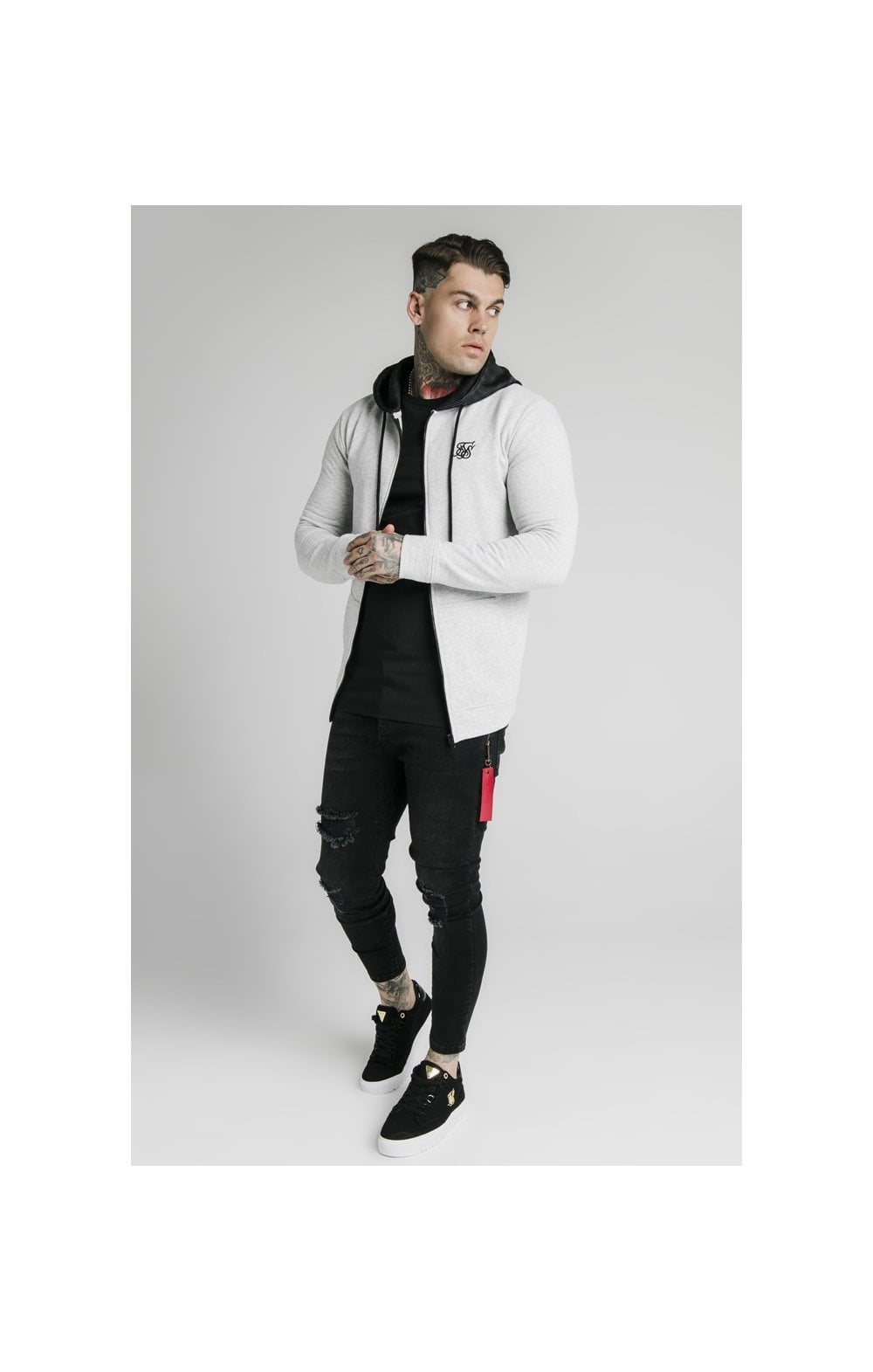 SikSilk Muscle Fit Zip Through Hoodie - Grey (4)