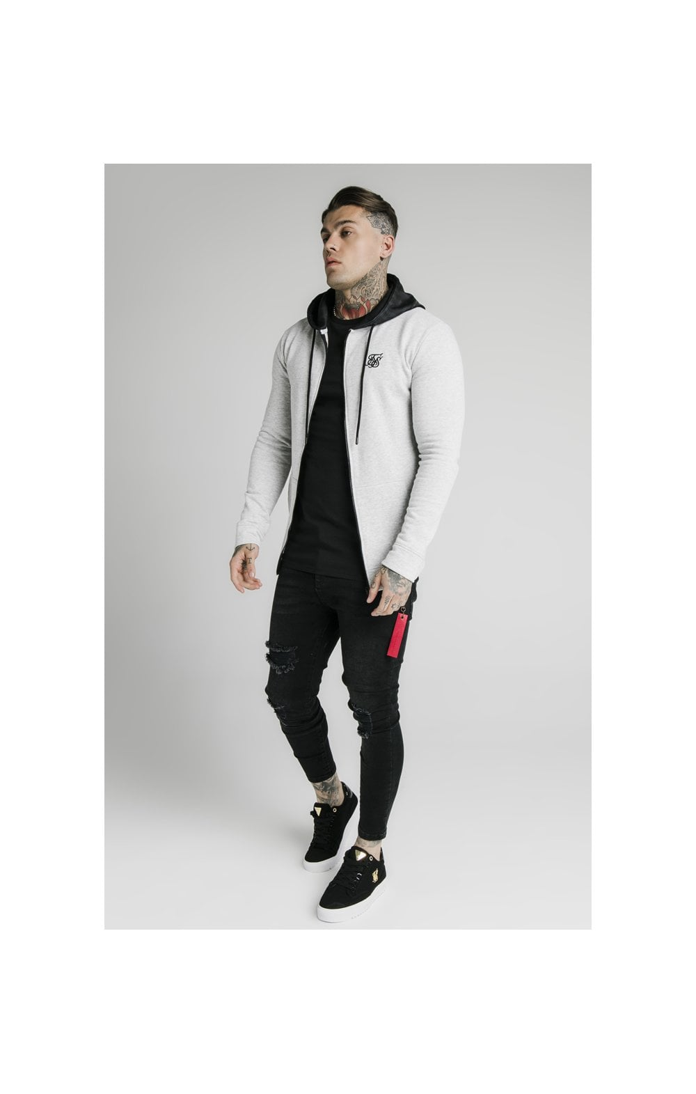 SikSilk Muscle Fit Zip Through Hoodie - Grey (5)