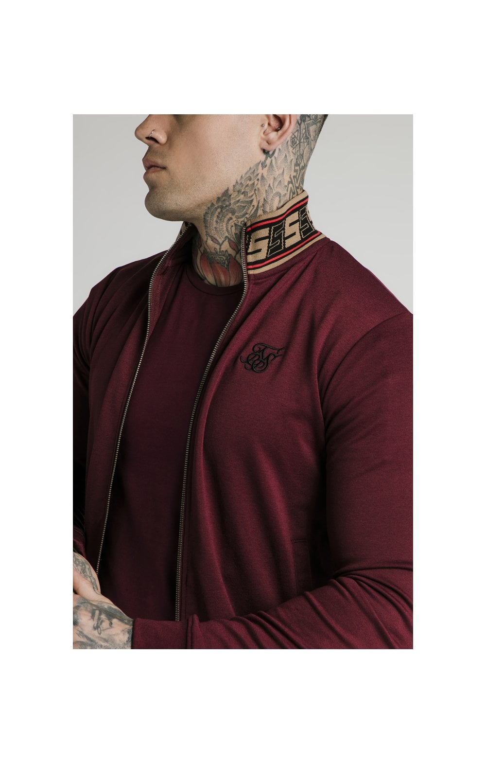 Load image into Gallery viewer, SikSilk Jacquard Retro Zip Through - Burgundy (1)