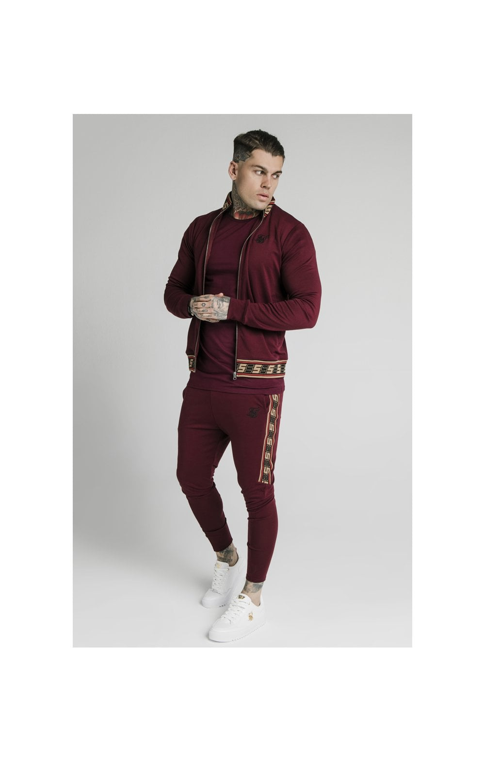 Load image into Gallery viewer, SikSilk Jacquard Retro Zip Through - Burgundy (4)