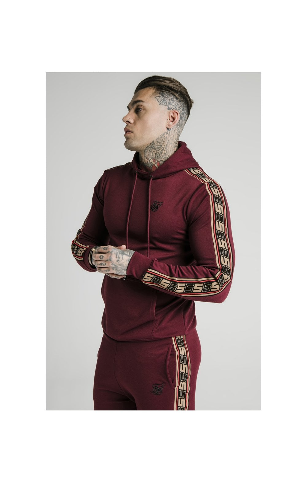 Load image into Gallery viewer, SikSilk Jacquard Retro Overhead Hoodie - Burgundy