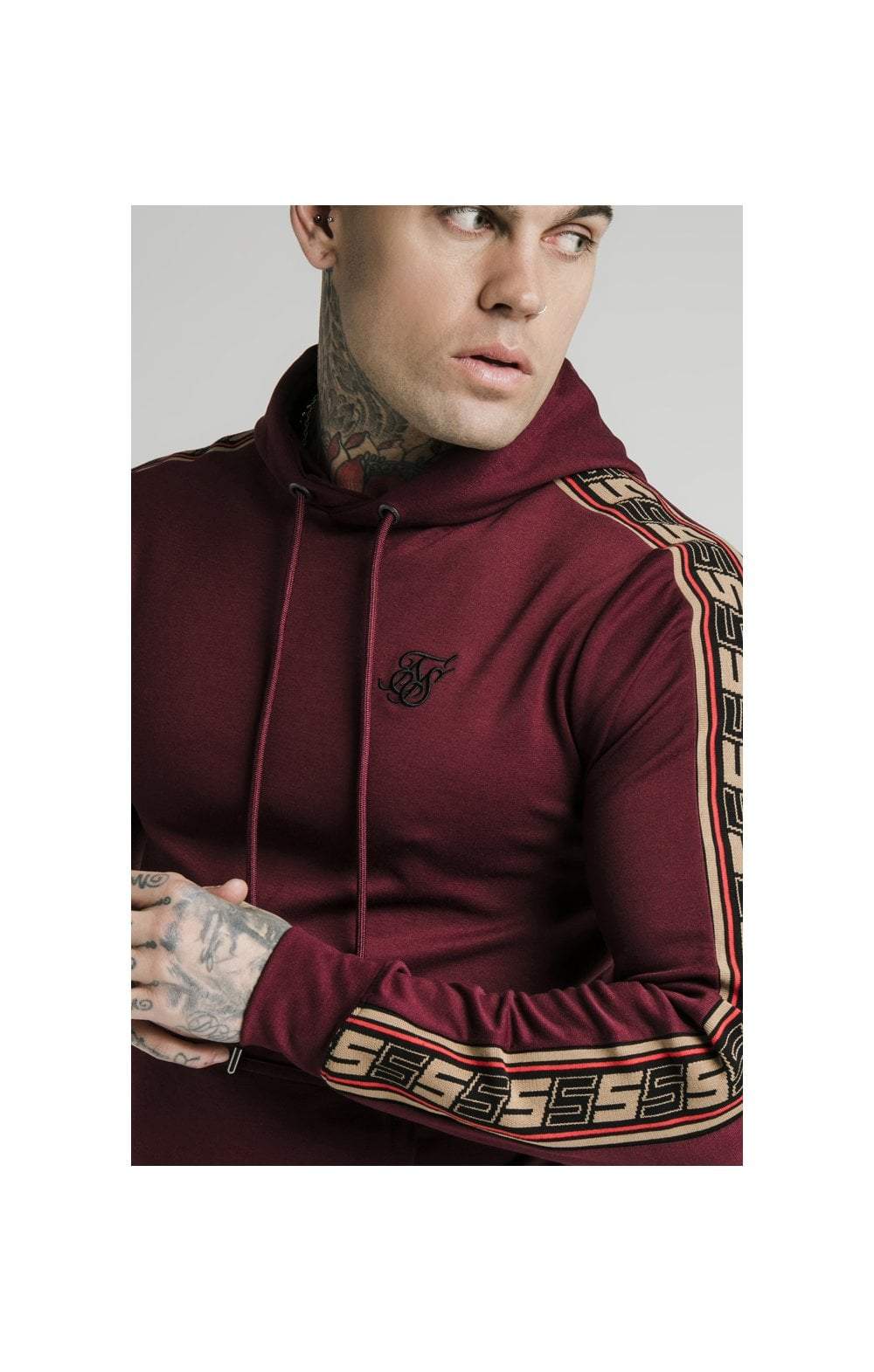 Load image into Gallery viewer, SikSilk Jacquard Retro Overhead Hoodie - Burgundy (1)