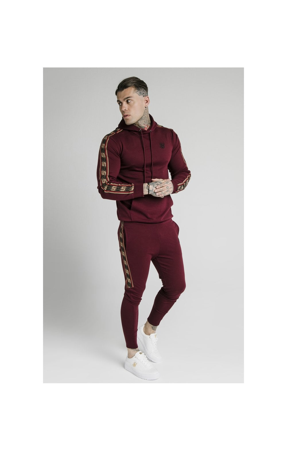 Load image into Gallery viewer, SikSilk Jacquard Retro Overhead Hoodie - Burgundy (3)