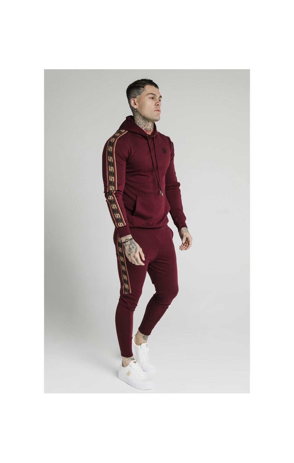 Load image into Gallery viewer, SikSilk Jacquard Retro Overhead Hoodie - Burgundy (4)