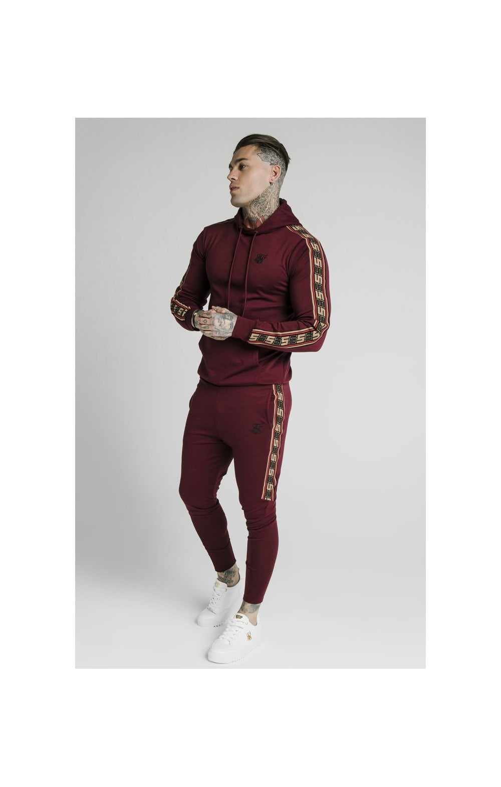 Load image into Gallery viewer, SikSilk Jacquard Retro Overhead Hoodie - Burgundy (5)
