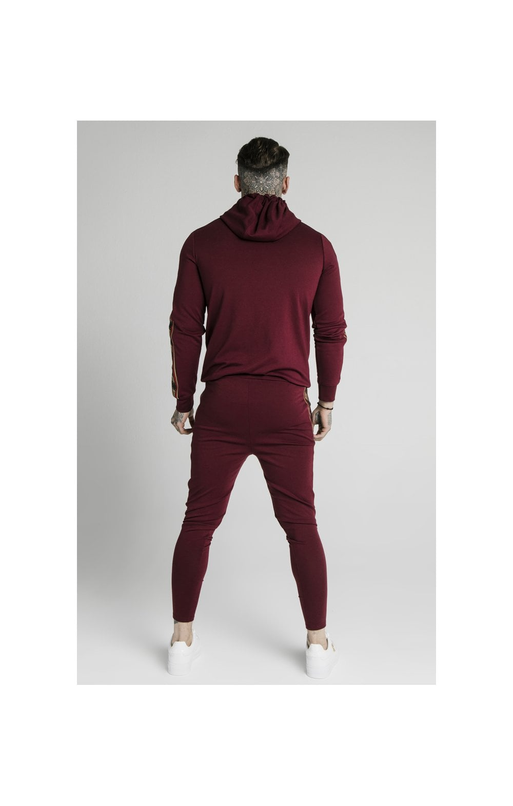 Load image into Gallery viewer, SikSilk Jacquard Retro Overhead Hoodie - Burgundy (6)