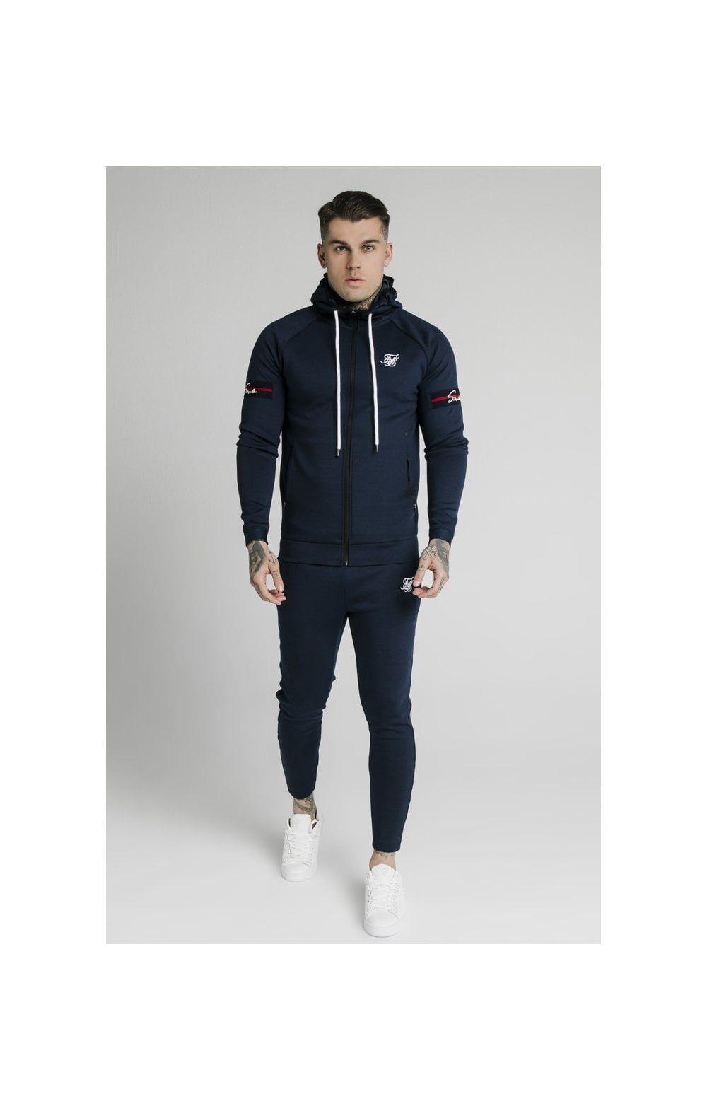 SikSilk Exposed Tape Zip Through Hoodie- Navy (2)