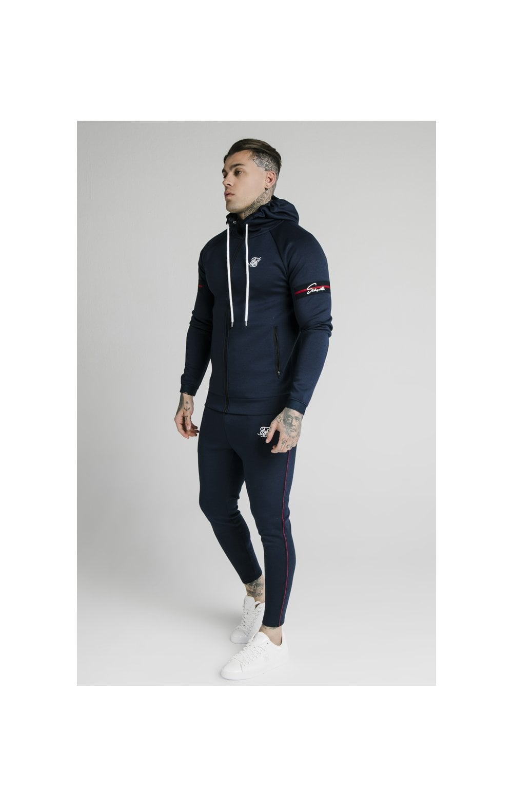 SikSilk Exposed Tape Zip Through Hoodie- Navy (3)