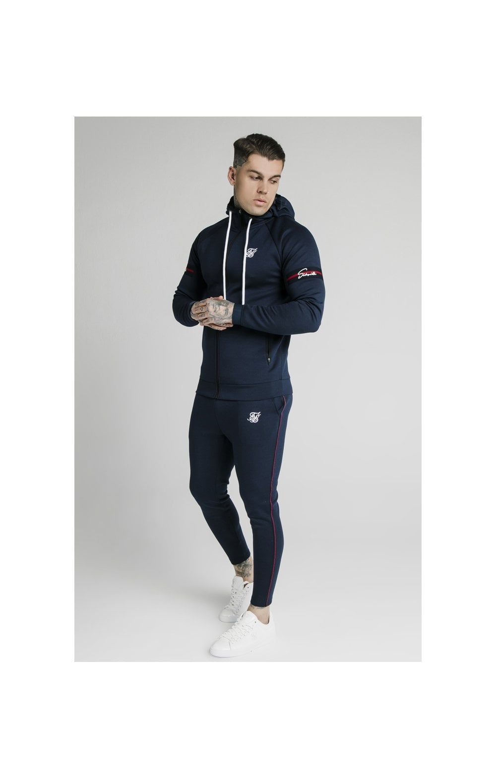 SikSilk Exposed Tape Zip Through Hoodie- Navy (4)