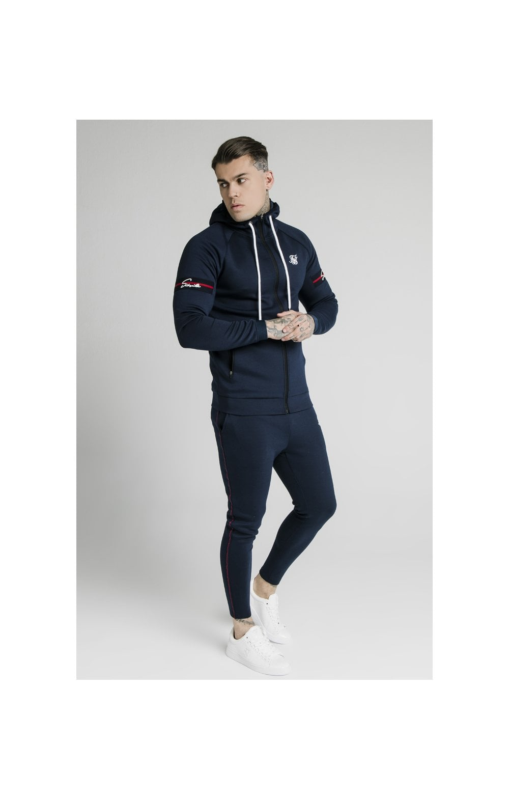 SikSilk Exposed Tape Zip Through Hoodie- Navy (5)