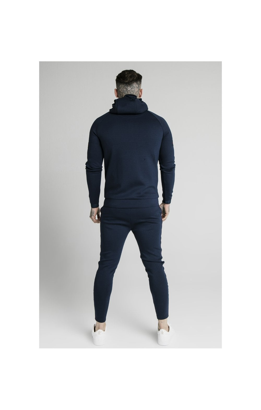SikSilk Exposed Tape Zip Through Hoodie- Navy (6)