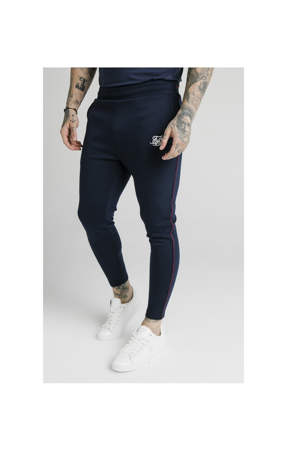 SikSilk Exposed Tape Jogger- Navy