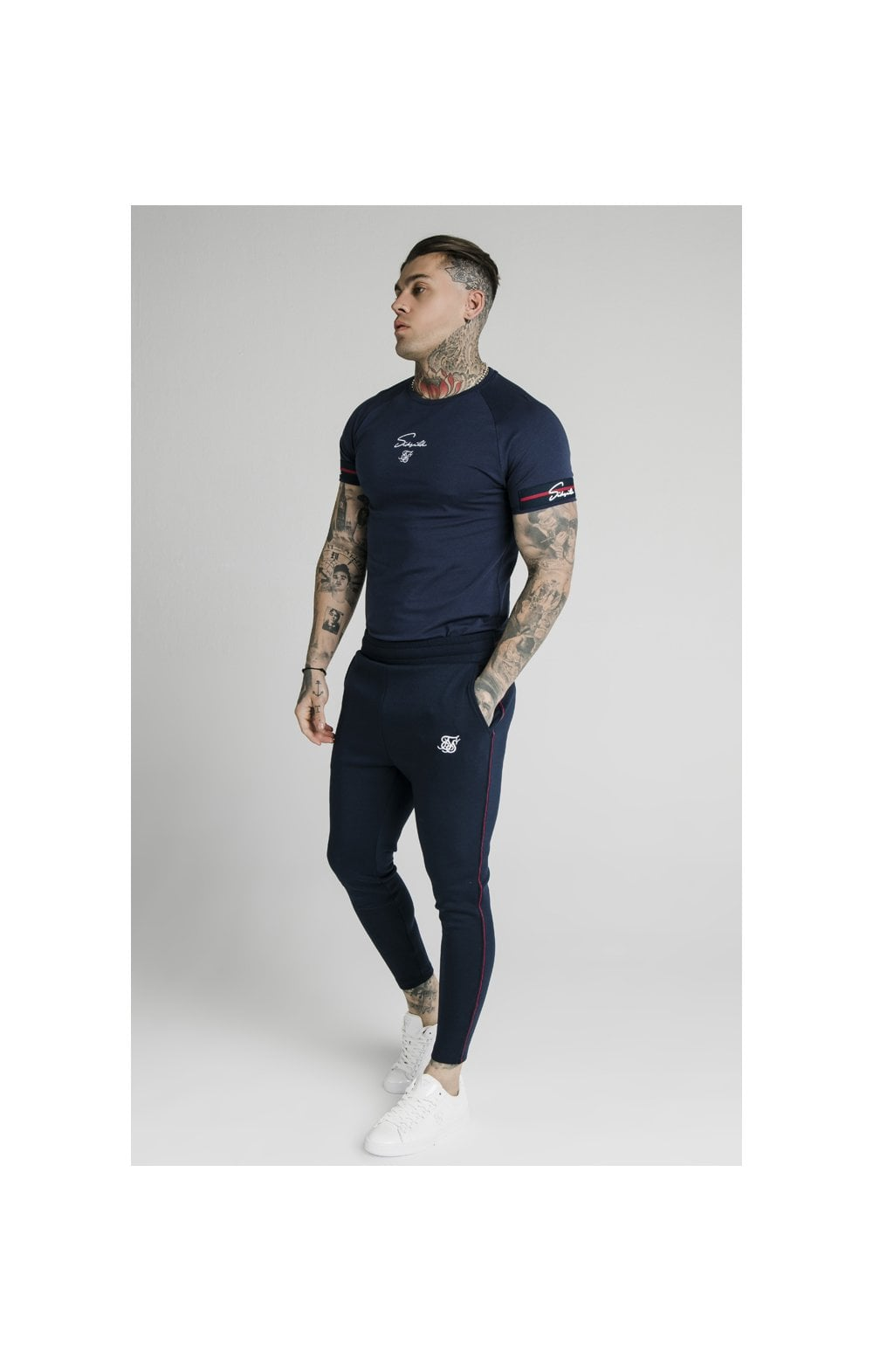 SikSilk Exposed Tape Jogger- Navy (3)