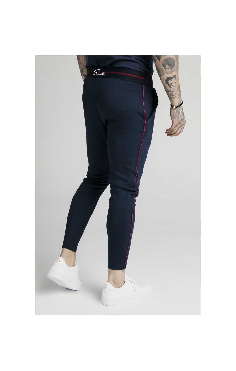 SikSilk Exposed Tape Jogger- Navy (4)