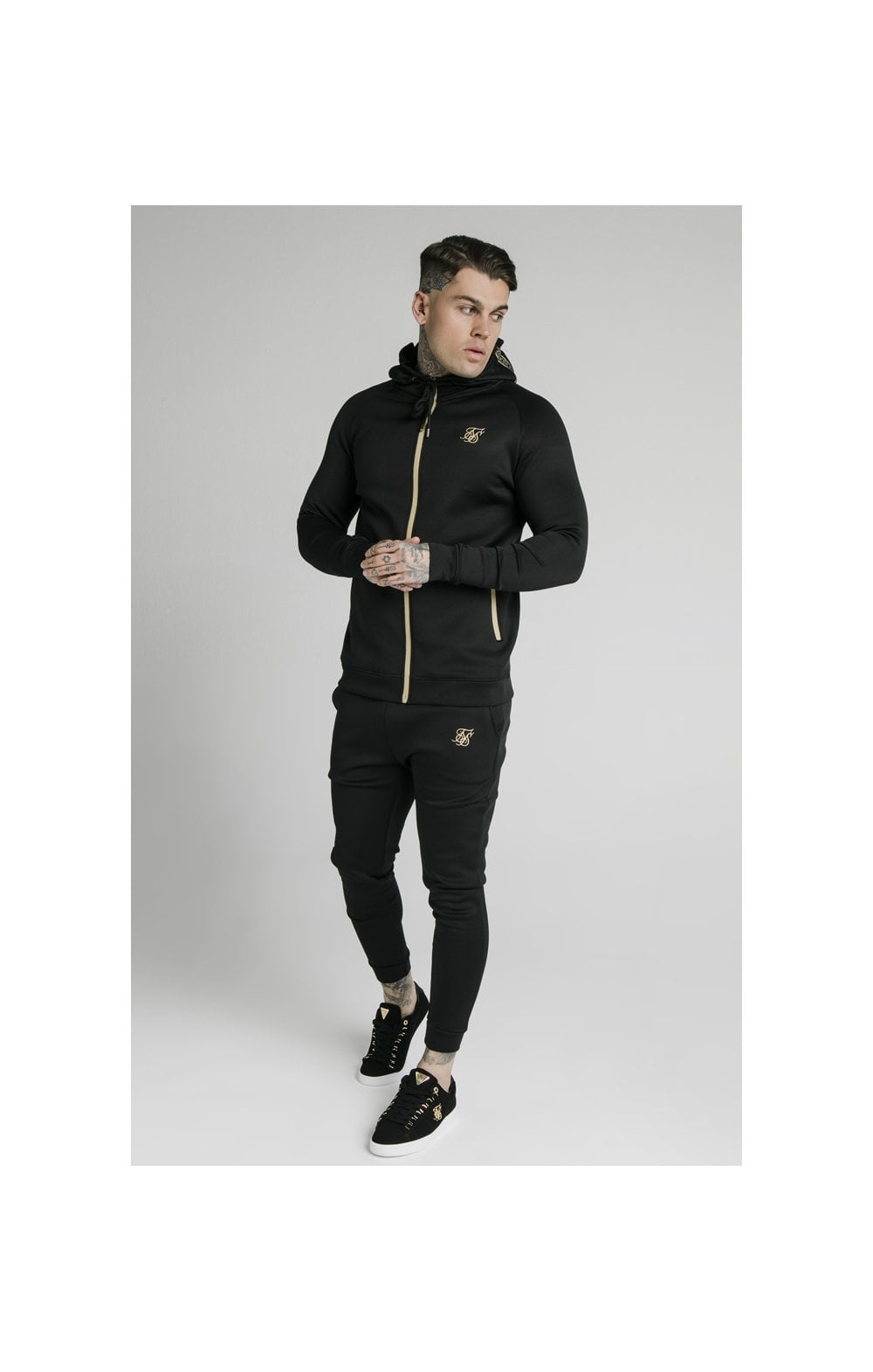 Load image into Gallery viewer, SikSilk Element Zip Through Hoodie - Black & Gold (4)