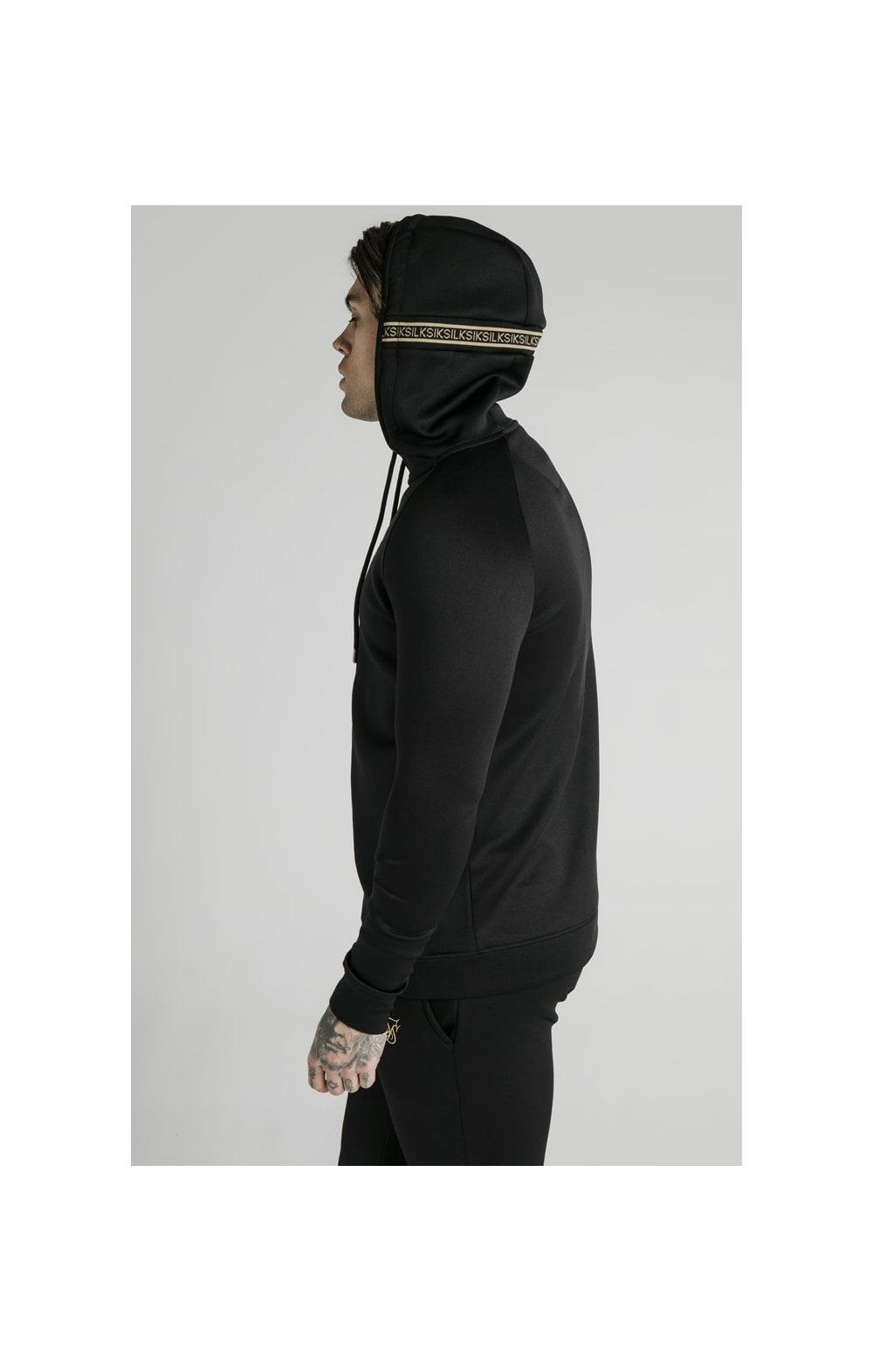 Load image into Gallery viewer, SikSilk Element Zip Through Hoodie - Black & Gold (5)