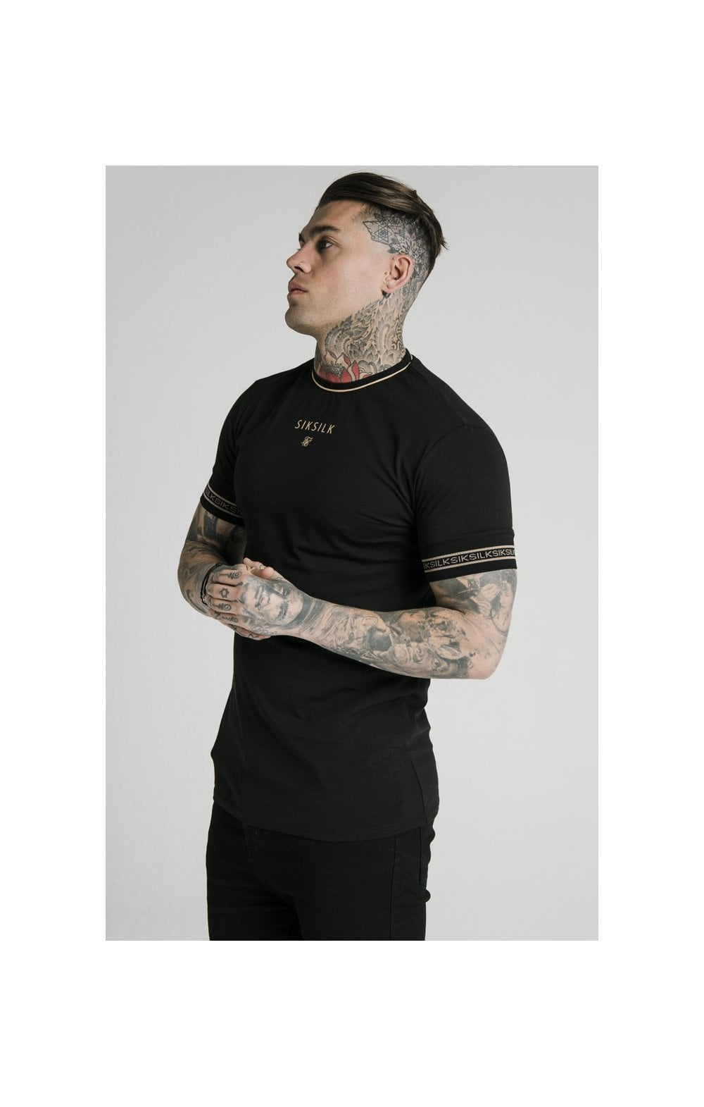 Load image into Gallery viewer, SikSilk Element Straight Hem Gym Tee – Black & Gold