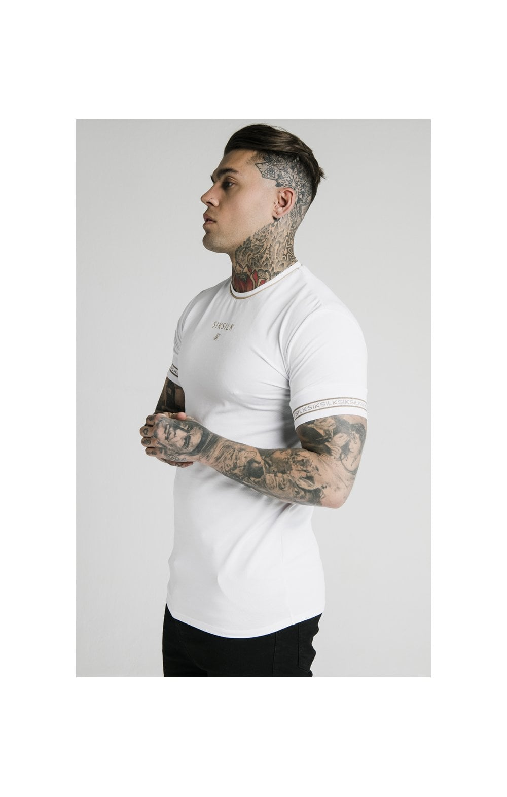 Load image into Gallery viewer, SikSilk Element Straight Hem Gym Tee – White & Gold