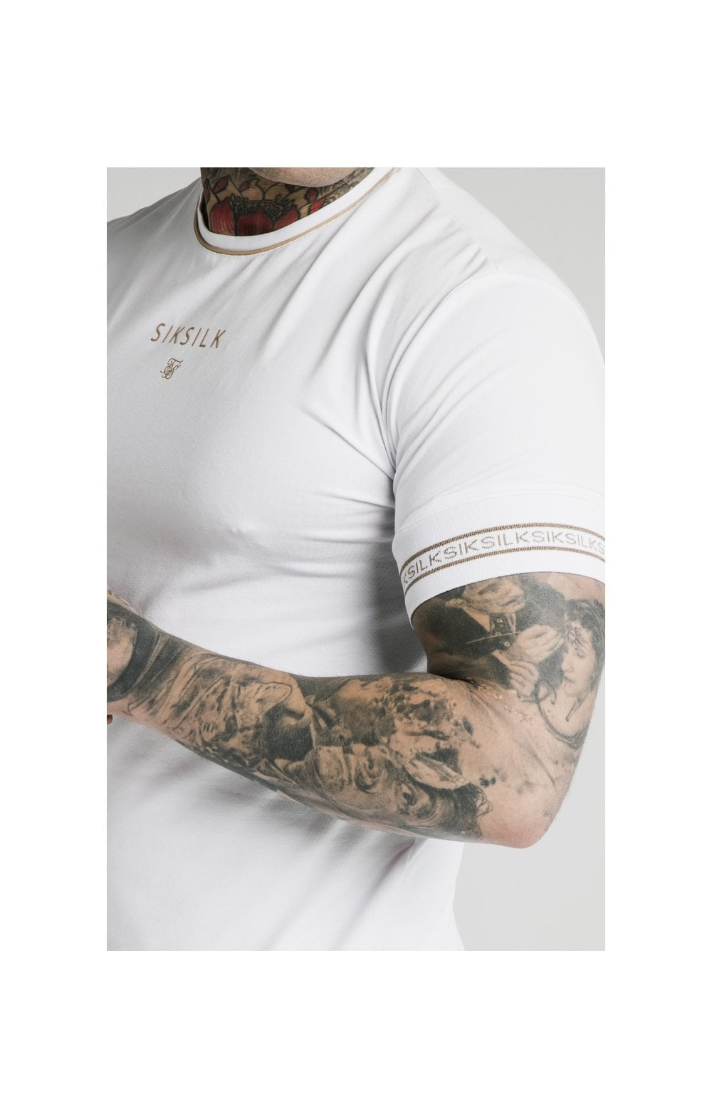 Load image into Gallery viewer, SikSilk Element Straight Hem Gym Tee – White & Gold (1)
