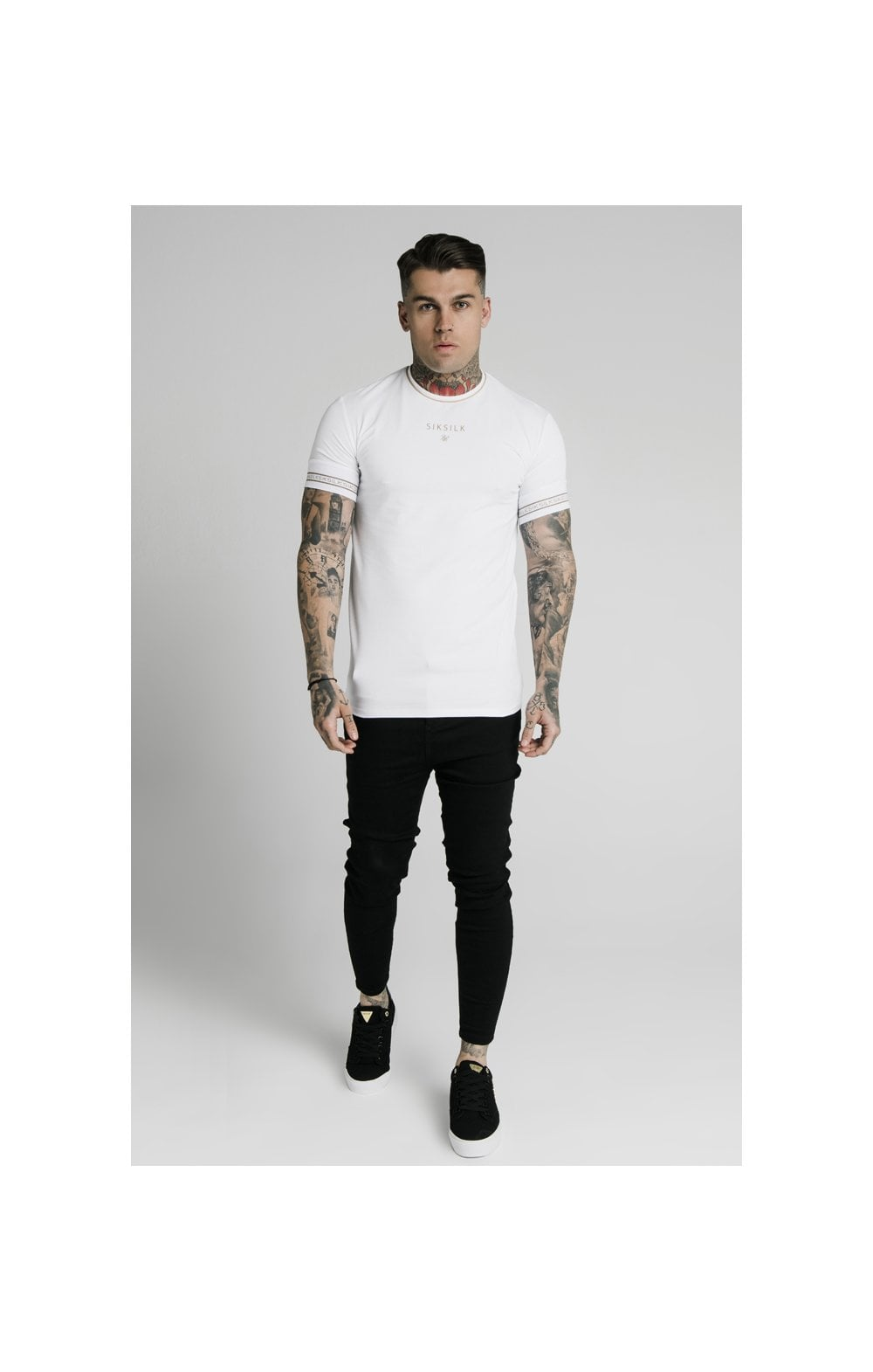 Load image into Gallery viewer, SikSilk Element Straight Hem Gym Tee – White & Gold (2)