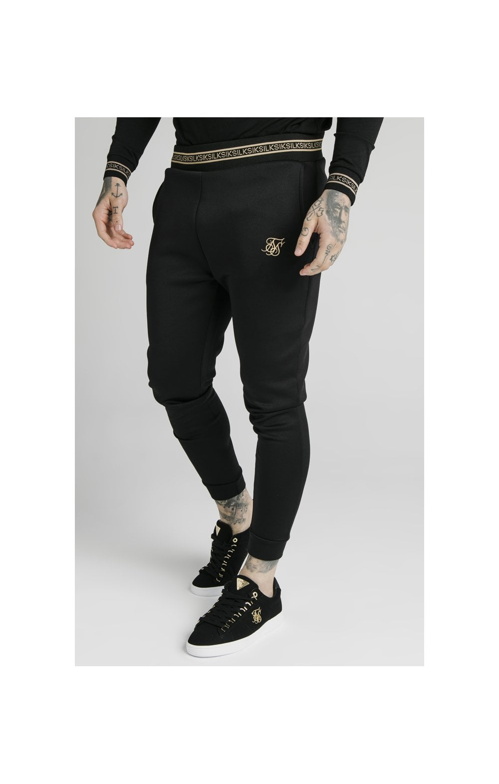 SikSilk Element Muscle Fit Cuff Joggers– Black & Gold