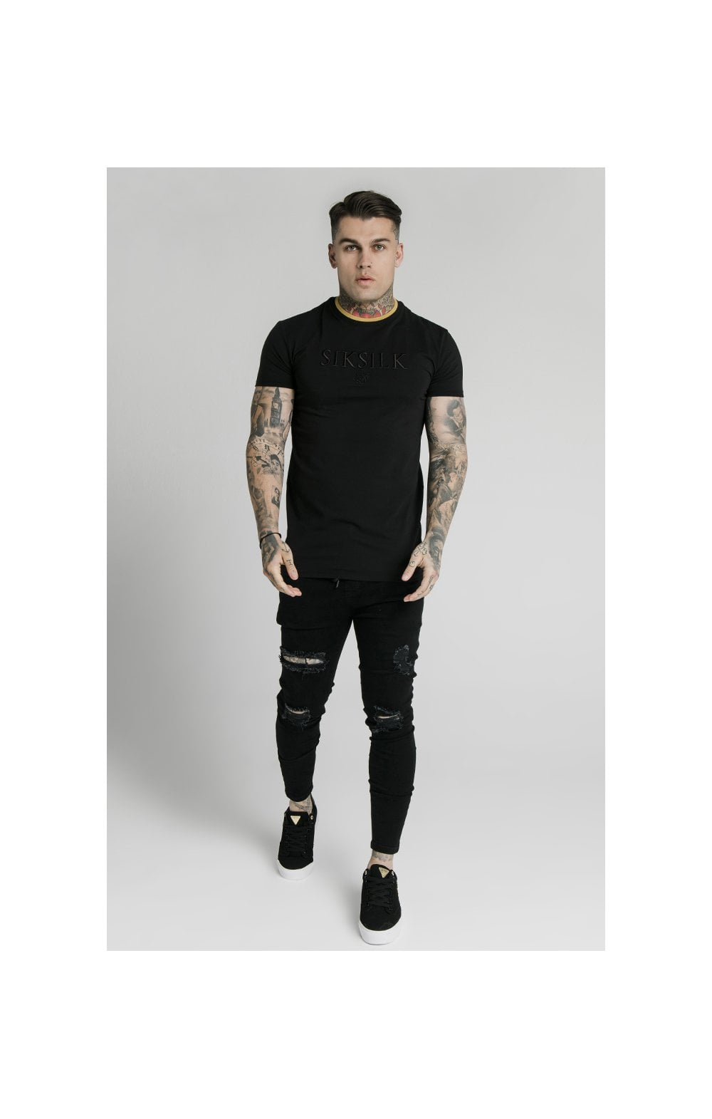 Load image into Gallery viewer, SikSilk Straight Hem Gym Tee – Black & Gold (1)